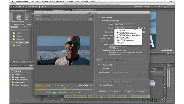 Exporting sequences from Premiere: Premiere Pro CS5 Essential Training