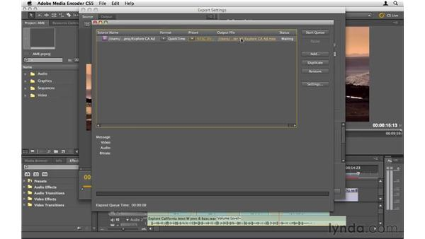 Exporting with the Adobe Media Encoder: Premiere Pro CS5 Essential Training