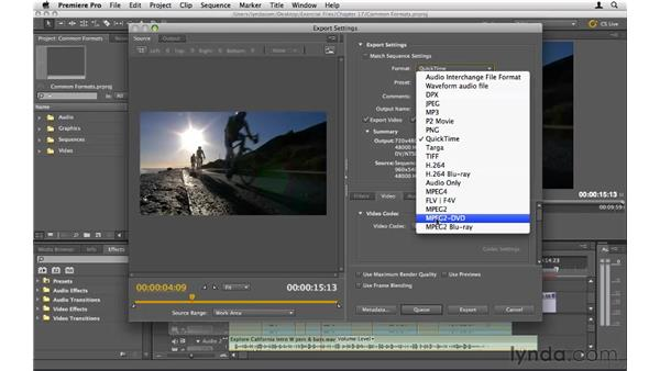 The most common formats and codecs: Premiere Pro CS5 Essential Training