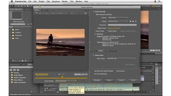 Exporting portions of a sequence: Premiere Pro CS5 Essential Training