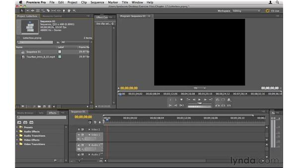 Rendering letterboxed footage: Premiere Pro CS5 Essential Training