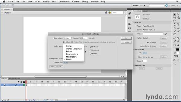 Creating and setting document properties for an FLA file: Flash Professional CS5 Essential Training