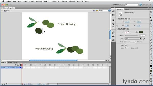 Understanding Merge Drawing and Object Drawing: Flash Professional CS5 Essential Training