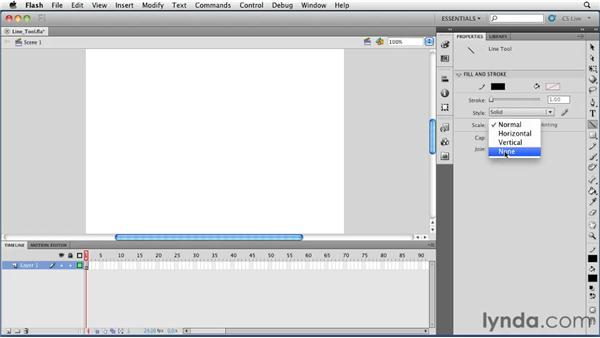 Drawing lines using the Line tool: Flash Professional CS5 Essential Training