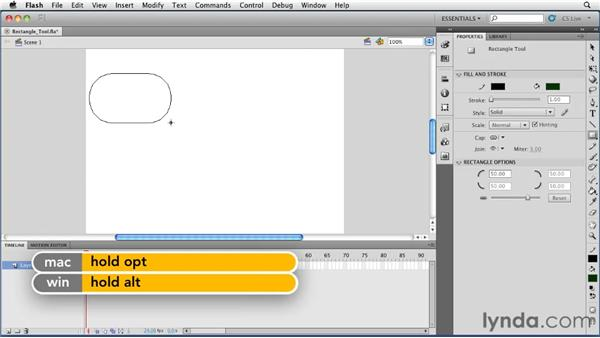Using the Rectangle tool: Flash Professional CS5 Essential Training