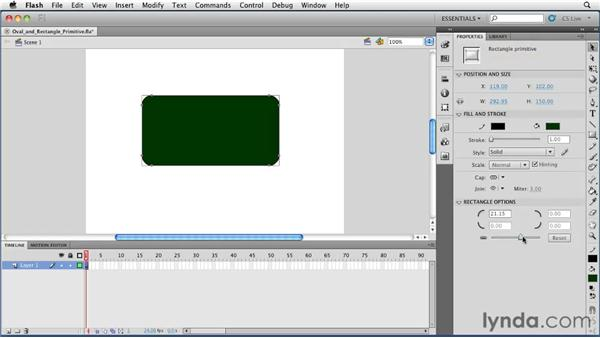 Using the Oval and Rectangle Primitive tools: Flash Professional CS5 Essential Training