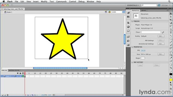 Selecting lines and fills: Flash Professional CS5 Essential Training