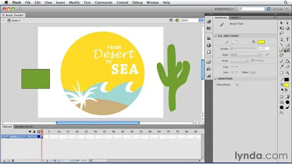 Using the Brush tool: Flash Professional CS5 Essential Training
