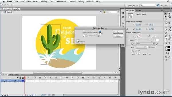 Optimizing shapes for enhanced performance: Flash Professional CS5 Essential Training