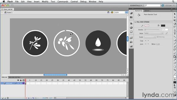 Changing fill and stroke colors with the Paint Bucket and Ink Bottle tools: Flash Professional CS5 Essential Training