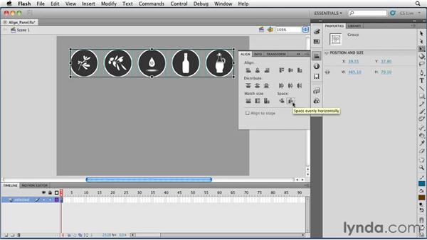 Aligning objects with the Align panel: Flash Professional CS5 Essential Training