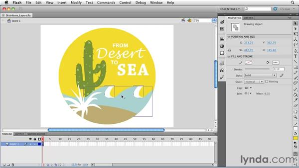Organizing a file into layers using Distribute to Layers: Flash Professional CS5 Essential Training