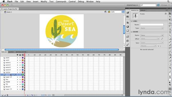 Organizing layers and editing layer properties : Flash Professional CS5 Essential Training