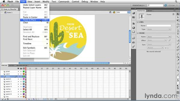 Using the Paste in Place command to organize layers : Flash Professional CS5 Essential Training