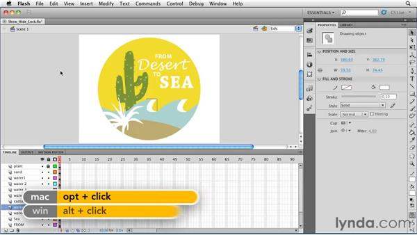 Showing, hiding, and locking layers: Flash Professional CS5 Essential Training