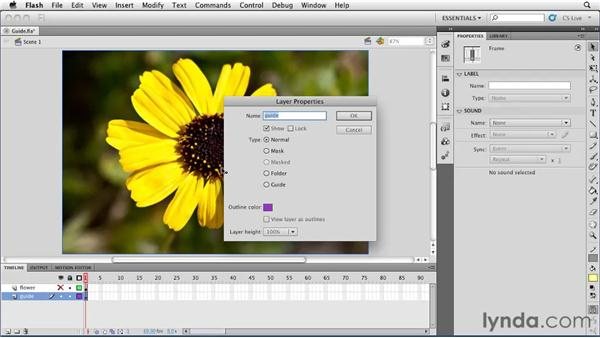 Creating guide layers: Flash Professional CS5 Essential Training