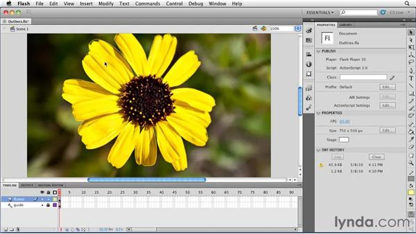 Viewing layers as outlines and changing layer outline colors: Flash Professional CS5 Essential Training
