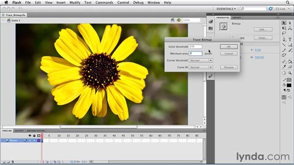 Vectorizing bitmap graphics using the Trace Bitmap tool: Flash Professional CS5 Essential Training
