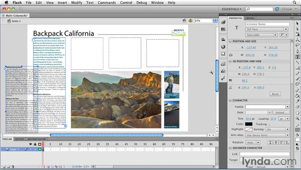 Connecting text through multiple text fields : Flash Professional CS5 Essential Training