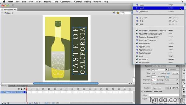 Using device fonts: Flash Professional CS5 Essential Training