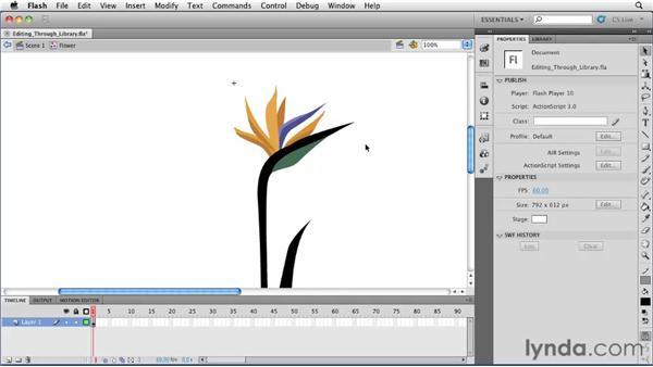 Editing graphic symbols through the library: Flash Professional CS5 Essential Training
