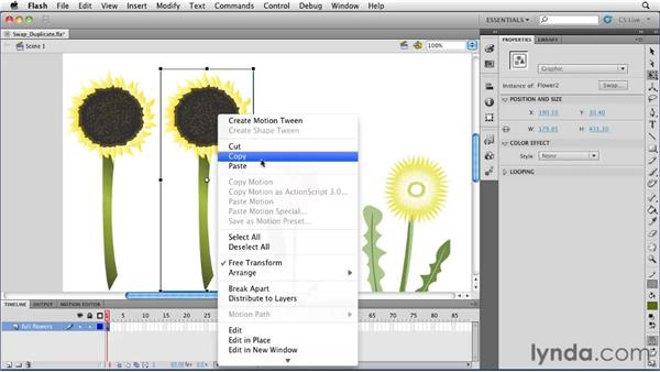 Swapping and duplicating symbols: Flash Professional CS5 Essential Training