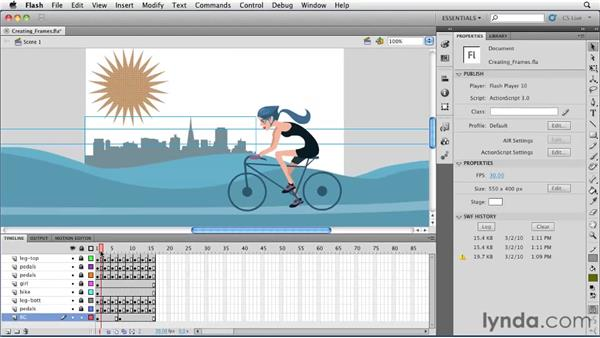 Creating frames, keyframes, and blank keyframes: Flash Professional CS5 Essential Training