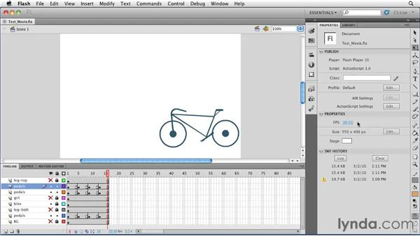 Previewing an animation using Test Movie: Flash Professional CS5 Essential Training