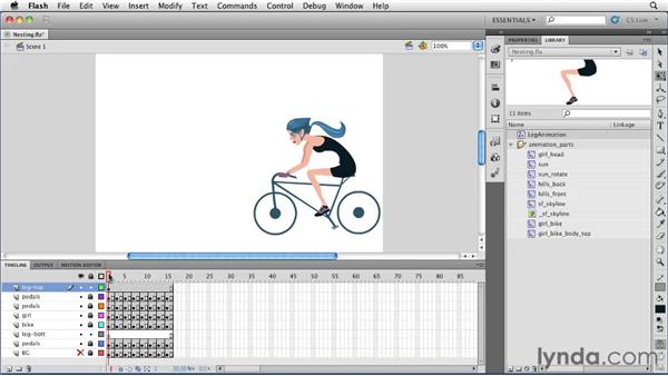 Nesting an animation in a graphic symbol and controlling its starting frame: Flash Professional CS5 Essential Training