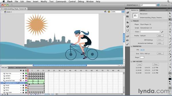 Understanding shape tweens: Flash Professional CS5 Essential Training