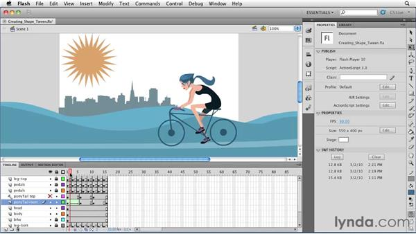 Creating and removing a shape tween: Flash Professional CS5 Essential Training