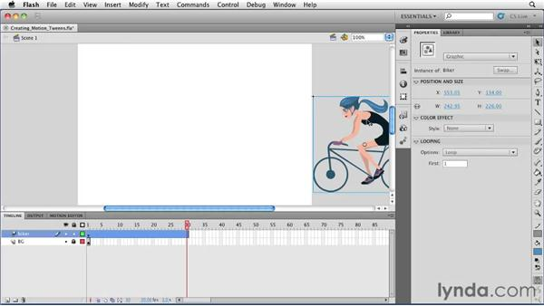Creating and removing a motion tween : Flash Professional CS5 Essential Training