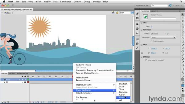 Working with Property keyframes in the timeline : Flash Professional CS5 Essential Training