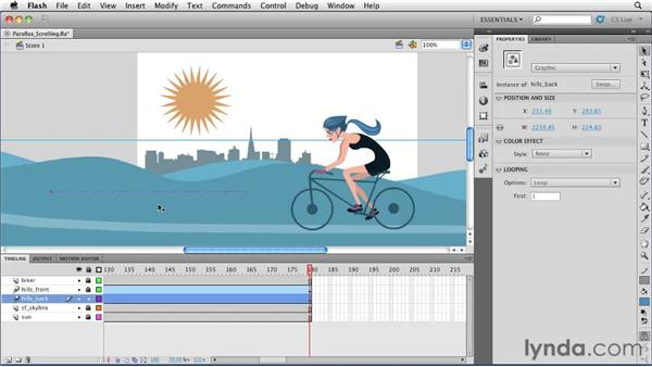 Using motion tweens for parallax scrolling: Flash Professional CS5 Essential Training