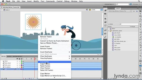 Selecting, moving, and copying motion tweens: Flash Professional CS5 Essential Training