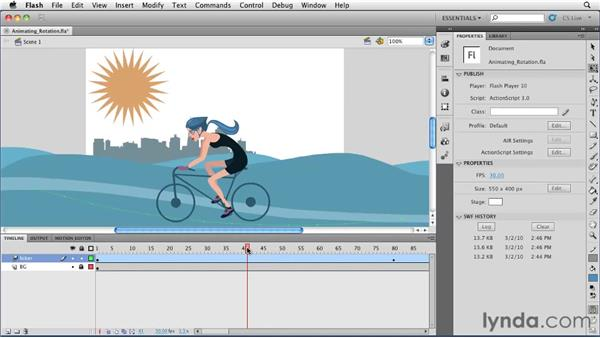 Adding rotation to an animation : Flash Professional CS5 Essential Training