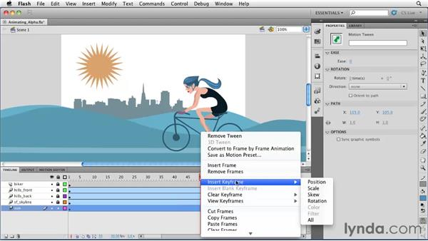 Animating color and alpha changes with a motion tween: Flash Professional CS5 Essential Training