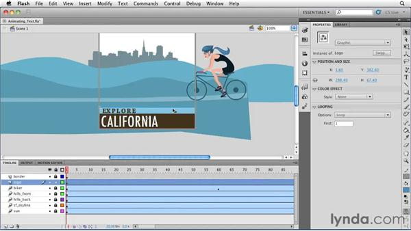 Animating text, bitmaps, and other objects : Flash Professional CS5 Essential Training
