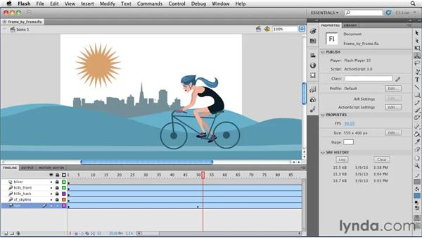 Converting a motion tween to a frame-by-frame animation: Flash Professional CS5 Essential Training