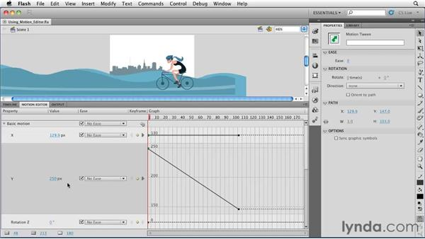 Using the Motion Editor to modify a motion tween : Flash Professional CS5 Essential Training