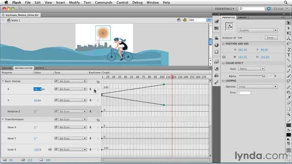 Adding and removing property keyframes with the Motion Editor: Flash Professional CS5 Essential Training
