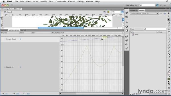 Adding easing in the Motion Editor: Flash Professional CS5 Essential Training