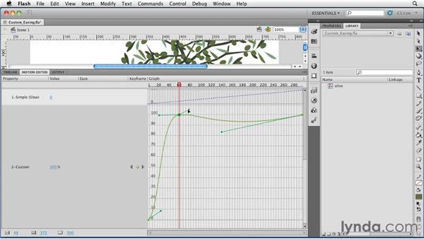 Modifying custom easing curves in the Motion Editor : Flash Professional CS5 Essential Training