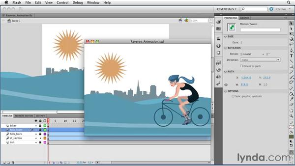 Reversing an animation: Flash Professional CS5 Essential Training