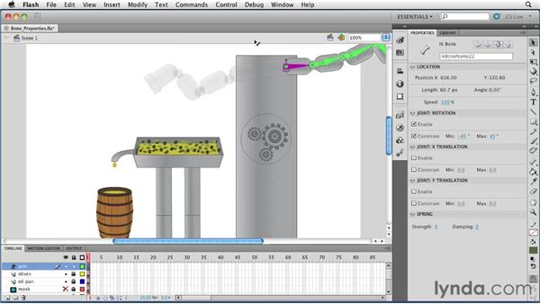 Adjusting bone properties in the Properties panel: Flash Professional CS5 Essential Training