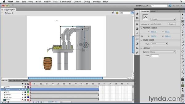 Staggering IK animations using graphic symbols: Flash Professional CS5 Essential Training