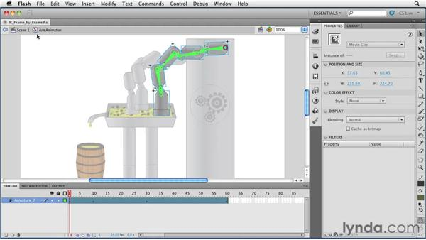 Converting an IK animation to a frame-by-frame animation: Flash Professional CS5 Essential Training