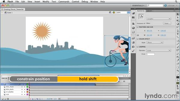 Creating a classic tween: Flash Professional CS5 Essential Training