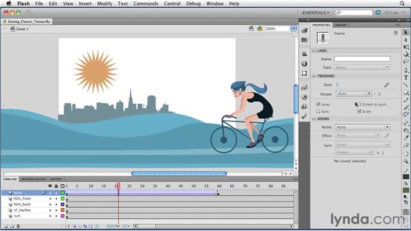 Adjusting easing in a classic tween: Flash Professional CS5 Essential Training