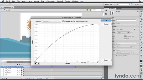 Editing easing curves in a classic tween: Flash Professional CS5 Essential Training